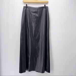 Gunex Leather Front Wool Black Maxi Skirt 12